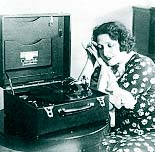 Photo of woman with victrola