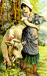 1880s illustration of a milkmaid