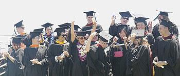 Cheering graduates