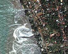 Photo: receding waters from tsunami