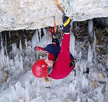 Photo of upsidedown ice climber