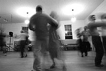 A lively session of contra dancing