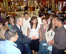 Photo of Robert Dynes with students