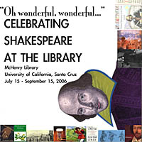 Poster for library exhibit celebrating 25 years of Shakespeare Santa Cruz