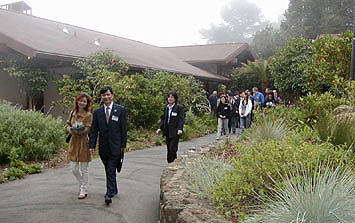 Delegation leaving University House
