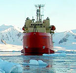 Photo of ship in Antarctica